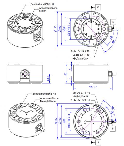K6D110 Kracht-koppelsensor met 6 assen