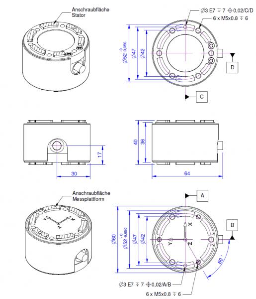 K6D40 Kracht- koppelsensor met 6 assen