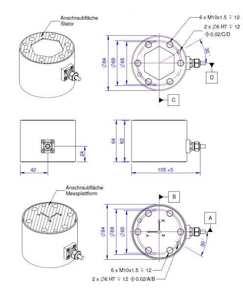 K6D68 Kracht-koppelsensor met 6 assen